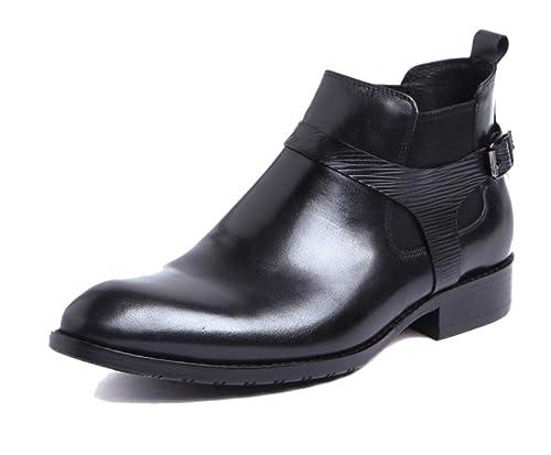 Negro Botines Chelsea para Hombre Puntiagudos Caballero Zapatos De Boda Botas Martin Fiesta Cuero Suave Hebilla: Amazon.es: Zapatos y complementos