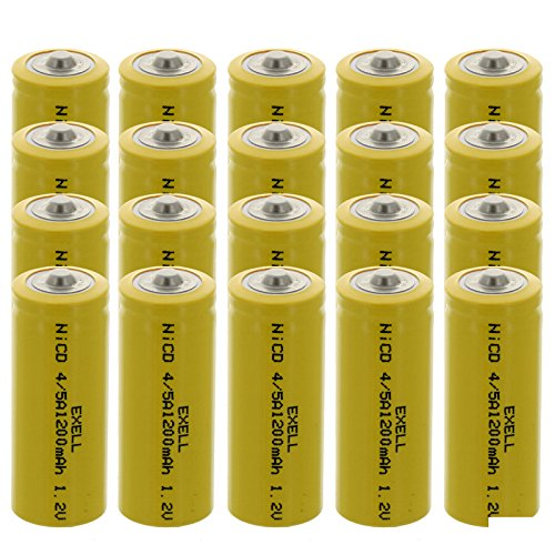 20x Exell 4/5A 1.2V 1200mAh NiCD Button Top Rechargeable Batteries for mobile phones, pagers, medical instruments/equipment, electric tools and toys, electric razors, toothbrushes, meters, radios
