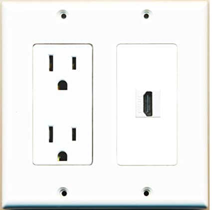 RiteAV - 15 Amp Power Outlet and 1 Port HDMI Decora Type Wall Plate - White