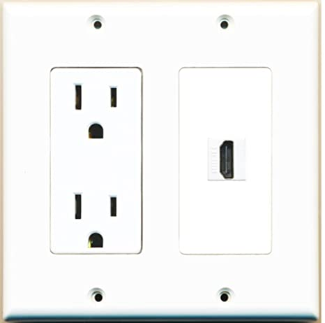amazon riteav 15 power outlet and 1 port hdmi decora type HDMI Wall Socket riteav 15 power outlet and 1 port hdmi decora type wall plate white