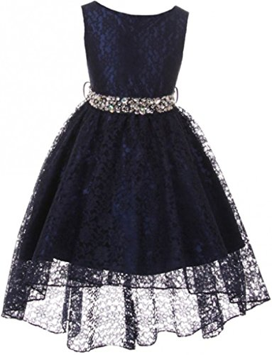 Big Girl Sleeveless Rhinestone Belt High Low Lace Pageant Graduation Flower Girl Dress (M3B6K0) Navy 18 (Size Girl Flower Dresses Plus)