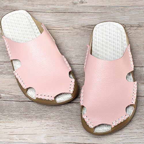 MatchLife Damen Leder Pantolette Bequeme Hausschuhe Modische Gummisohle Sommer Strand Schuhe Slipper Rosa