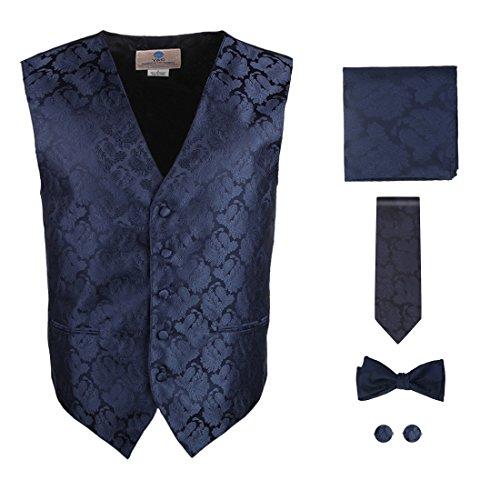 Mens Designer Blue pattern Tuxedo for men Vest Set Match Necktie Cufflinks Bowtie Hanky Set for Suit Y&G VS1020-2XL XX-Large Midnight Blue
