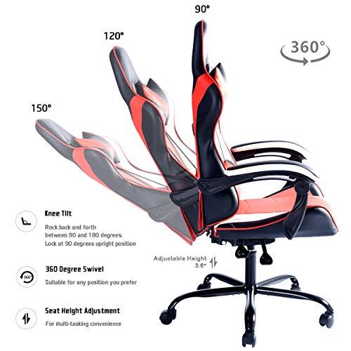 Aingoo Gaming Computer Chair Red White High Back Ergonomic Racing