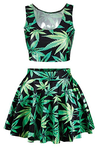 Cheer Leader' Marijuana Leaf Print Crop Tank Top Tees Shirts Skater Skirt Suits
