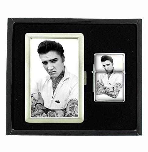 Elvis Tattooed Cigarette Case and Flip Top Oil Lighter Set