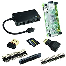 Improved Version! MakerSpot 8-in-1 Raspberry Pi Zero Mega Pack (no PiZero board) WiFi Dongle, USB OTG HUB, Micro SD Card, Pin Header, HDMI Adapter, Transparent Acrylic Protector and Standoffs