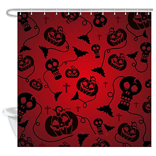 (NYMB Red Scary Halloween Bathroom Shower Curtains, Skull Pumpkin with Bat for Halloween Treat or Trick Party, Polyester Fabric Shower Curtain, Waterproof Bath Curtain with 12 Hooks,)