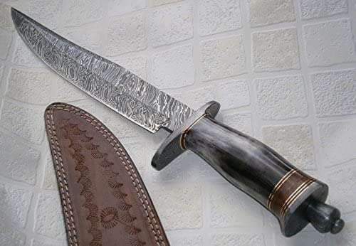 Poshland REG 599 Custom Handmade Damascus Steel Bowie Knife- Stunning Colored Handle