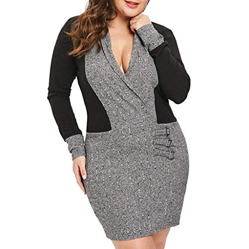 Mlide Women's Plus Size Patchwork Deep V-Neck Brief Dress,Solid Polyester Long-Sleeved Stitching Dress(Black,XXX-Large)