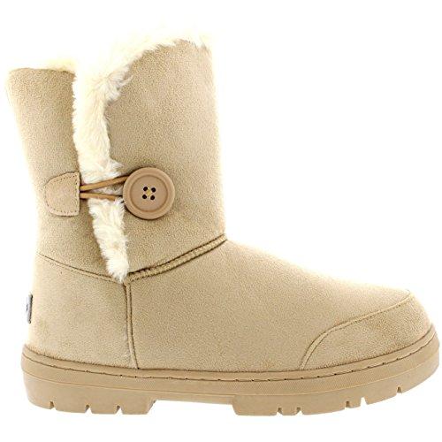 Mujeres solo botón totalmente alineada botas piel a prueba de agua nieve del invierno Beige