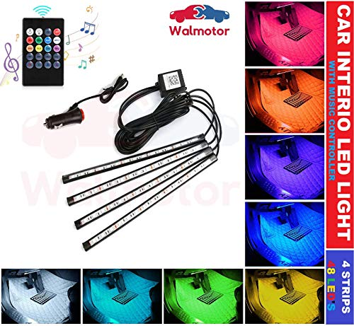 Walmotor�-Car Interior Music Controller LED Strip Light, 4pcs, 48 LED,12V Car Socket Included�