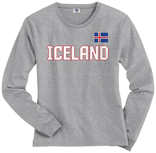 Threadrock Women's Iceland National Pride Long Sleeve T-shirt S Sport Gray (Long Sleeve Womens Pride)