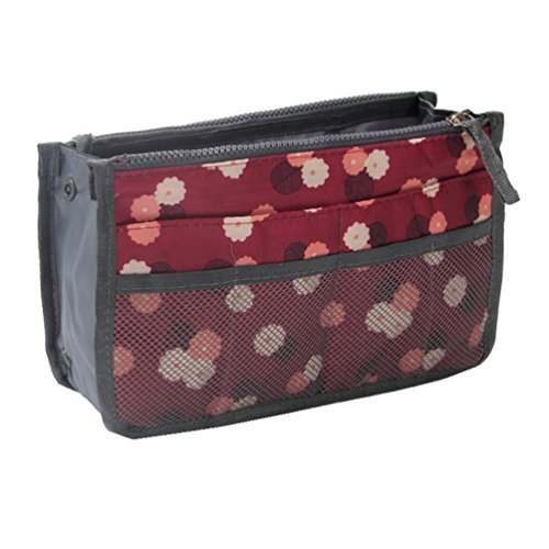 Itraveller Handbag Organizer, Liner, Sturdy Nylon, Insert 13 Compartments (Wine Red Daisy) Daisy Handbag Purse