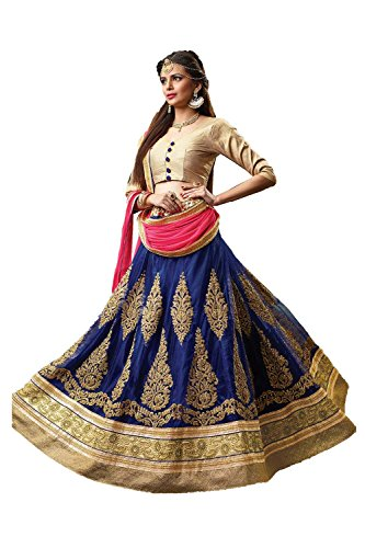 Da Facioun Indian Women Designer Wedding Blue Lehenga Choli Fabz-2069