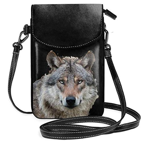 Small Cell Phone Purse For Women Leather Wolf Head Insides Card Slots Crossbody Bags Wallet Shoulder Bag -