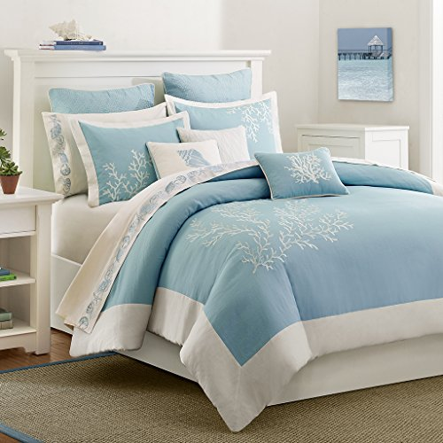 Harbor House Coastline Duvet Cover King/Cal King Size - Blue , Jacquard Coastal Coral Duvet Cover Set - 3 Piece - 100% Cotton Light Weight Bed Comforter Covers ()