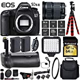 Canon EOS 5DS R DSLR Camera with 24-105mm is STM Lens + Professional Battery Grip + UV Protection Filter + LED Kit + Extra Battery + Case + Wrist Strap + Tripod - International Version