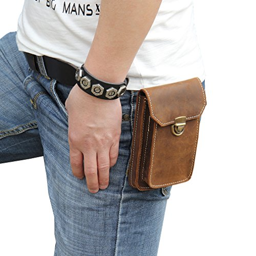 Boleke Mens Genuine Leather Small Hook Fanny Waist Bag Hip Bum Pack Cigaretee Pouch