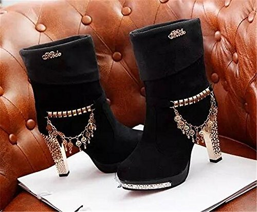 Heel Winter Suede on Short Snow Studded HAPPYLIVE Women's Martin Boots Plush Boots Black Shoes Slip SHOPPING High Chain Warm 1XgWqnEwp