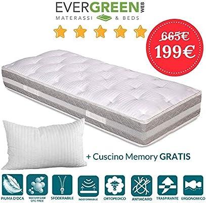Evergreenweb Materassi.Evergreenweb Materasso Singolo 80x190 Alto 25 Cm Con Topper In
