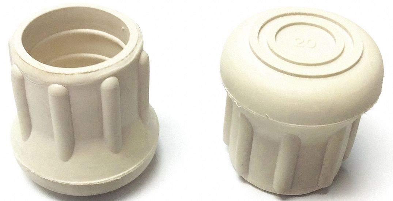 Round Slip-On Furniture Protective Leg Tips, White Rubber, 1'' Leg Outside Dia, 10PK - pack of 5