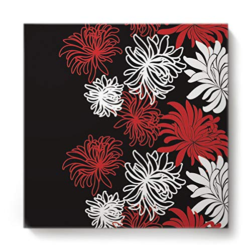 - Square Canvas Wall Art Oil Painting for Bedroom Living Room Home Decor,Chrysanthemum Flower Painting Black White Red Office Artworks,Stretched by Wooden Frame,Ready to Hang,28 x 28 Inch