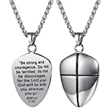 U7 Shield of Faith Pendant Chain 22 Inch Stainless Steel Joshua 1:9 Cross Amulet Necklace