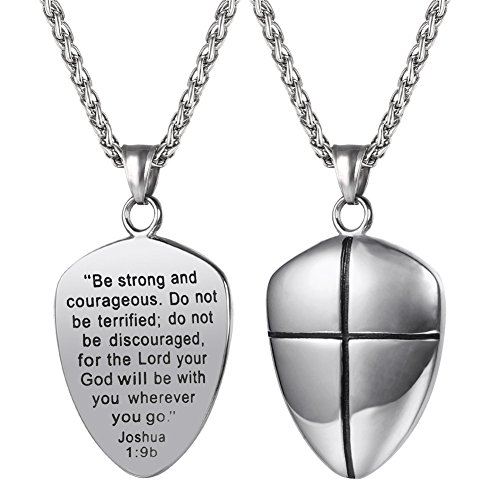 - U7 Shield of Faith Pendant Chain 22 Inch Stainless Steel Joshua 1:9 Cross Amulet Necklace
