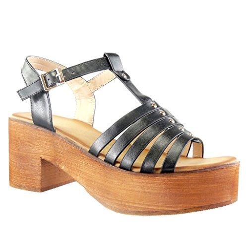 Angkorly - Zapatillas de Moda Sandalias correa zapatillas de plataforma mujer multi-correa tachonado madera Talón Tacón ancho alto 7 CM - Negro