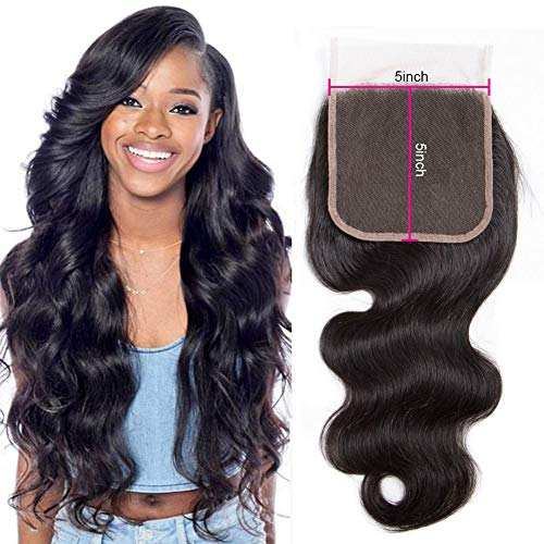 (Star Show Brazilian Hair Body Wave Closure 5x5 Inch Lace Closure 100% Human Hair Closure One Piece For Sale Natural Color (20 inch 5x5 Free Part Closure))