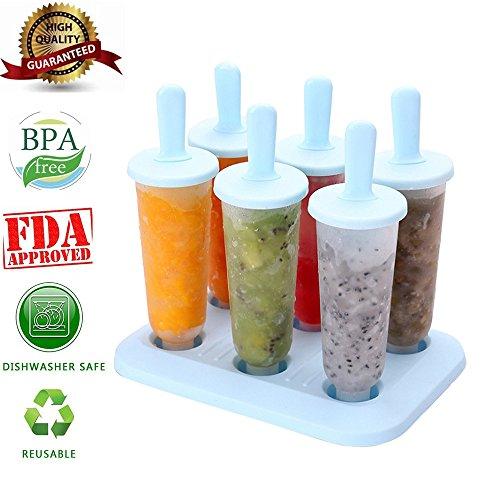 Popsicle Molds Set - 100% BPA Free - 6 Ice Pop Molds (Halloween Ice Cream Games)