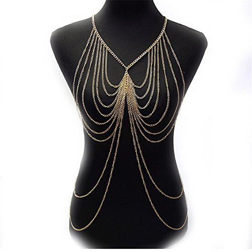 SIYWINA Multi-tassel Body Chains Women Novelty Gold Tassel Fine Chain Body Chain Bikini Summer by SIYWINA