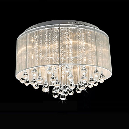 DINGGU™ Flush Mounted Luxury Contemporary Drum Ceiling Chandelier Light Fixtures with Cylinder Lamp Shade for Bedroom by DINGGU (Image #4)