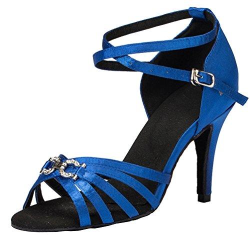 Abby Yfyc-l063 Dames Latin Tango Ballroom 3.3 Inch Hak Professionele Satijnen Dansschoenen Blauw