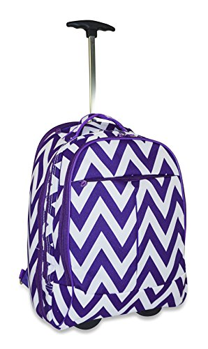 Ever Moda Rolling Laptop Case - Rolling Wheeled Laptop Case for Students & Professionals - Rolling Laptop Bag for 17-inch Laptops - Doubles up as a Laptop Backpack/Carry-on Case - Chevron Purple