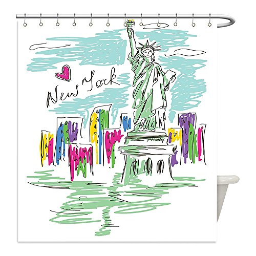 Liguo88 Custom Waterproof Bathroom Shower Curtain Polyester City Decor Cosmopolitan New York City Landmarks Statue of Liberty Sketchy Hand Drawn Image Multicolor Decorative - For Cosmopolitan Write