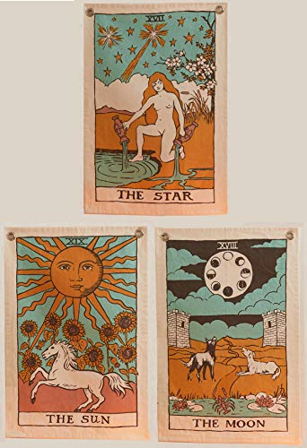 Tarot Flag Tapestry - The Sun, The Moon and The Star - Bohemian Cotton Printed Hand Made Wall Hanging Tapestries with Steel Grommets, Beige, Pack of 3 -