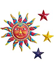 Metal Sun Stars Wall Art Decor Sculpture Plaque Hanging for Indoor Outdoor Home Garden,Colorful Sun Face Statues