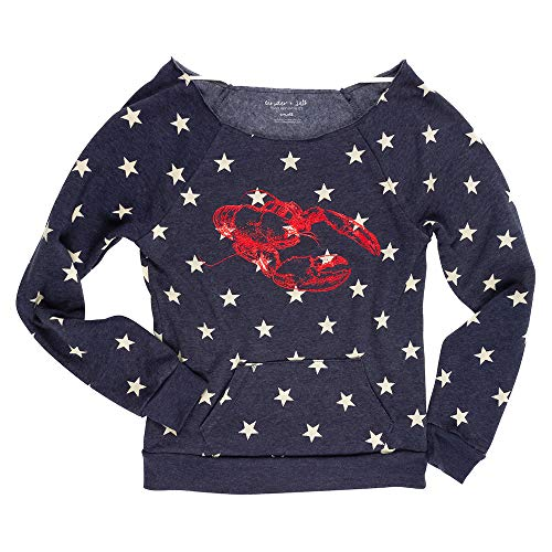 (Lobster and Stars Patriotic Women's Eco-Blend Boatneck Fleece Pullover Sweatshirt)