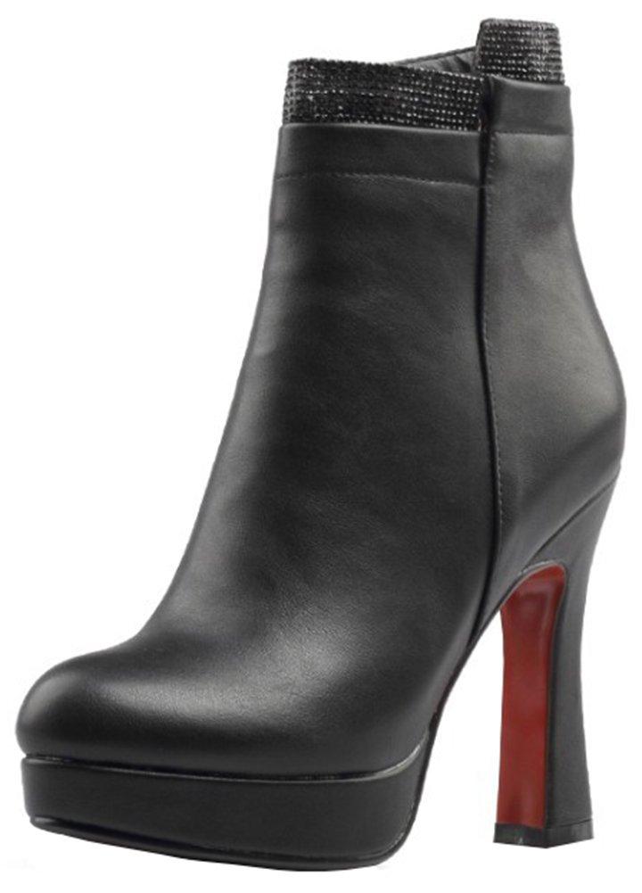 Mofri Women's Trendy Rhinestone Chunky High Heel Platform Ankle Booties Round Toe Side Zipper Short Boots (Black, 10 B(M) US)