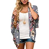 Digitek Direct Women Chiffon Loose Shawl - Chiffon Floral Print Kimono Cardigan Cover Up Boho Summer Casual Blouse Beach Swimwear
