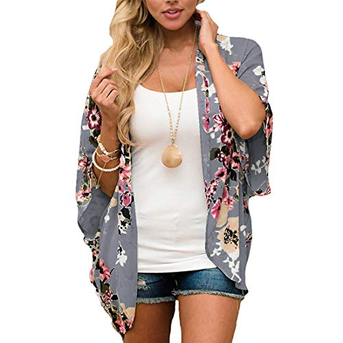 JORYEE Damen Florale Kimono Cardigan - Tops Cardigan Chiffon Shawl Bluse Sommer Boho Strand Cover up Leichte Jacke Oberteil