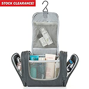 Hanging Toiletry Bag for Travel Accessories - Toiletry Kit - Shower Bag - Best Large Compact Flat Nylon Leakproof Mens Womens Toiletries Cosmetics Makeup Organizer for Traveling Gym Bathroom - Gray