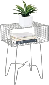 mDesign Modern Farmhouse Side/End Table - Metal Grid Design - Open Storage Shelf Basket, Hairpin Legs - Sturdy Vintage, Rustic, Industrial Home Decor Accent Furniture for Living Room, Bedroom - Stone