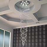 Saint Mossi Modern K9 Crystal Raindrop Chandelier Lighting Flush mount LED Ceiling Light Fixture Pendant Lamp for Dining Room Bathroom Bedroom Livingroom Double Swirl 8 GU10 Bulbs Required H86 W24