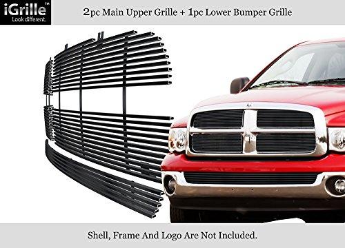 Dodge Billet Ram Grille 05 - APS Fits 2002-2008 Dodge Ram Regular Model Stainless Black Billet Grille Combo #D87999J
