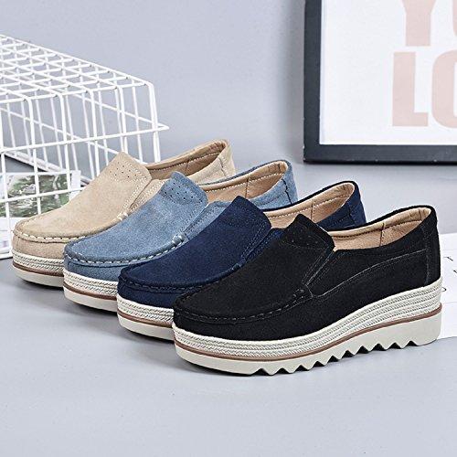 LILY999 Damen Mokassins Wildleder Plateau Schlupf Loafers Halbschuhe Sneaker Wedges Keilabsatz 5cm Schwarz Blau Khaki Schwarz