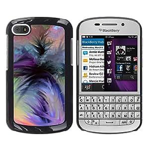 Acuarela púrpura Naranja Negro Verde- Metal de aluminio y de plástico duro Caja del teléfono - Negro - BlackBerry Q10