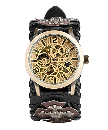 (Mens Punk Skeleton Automatic Watch Mechanical Rock Leather Strap Wristwatch Silver The Cross Pattern Bracelet Watch Comfortable Wide Watchband )